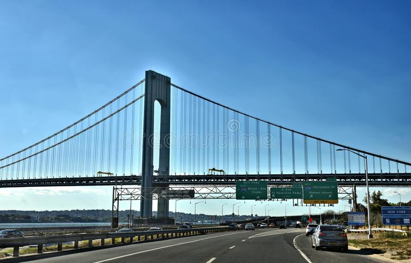 Pont de verrazzano de sortie de route de New York Brooklyn image stock
