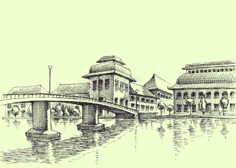 Pont de ville au-dessus du dessin de main de rivière illustration stock