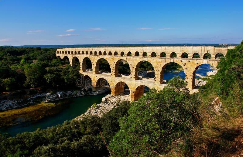 pont del du il Gard dell'aquedotto romano fotografia stock