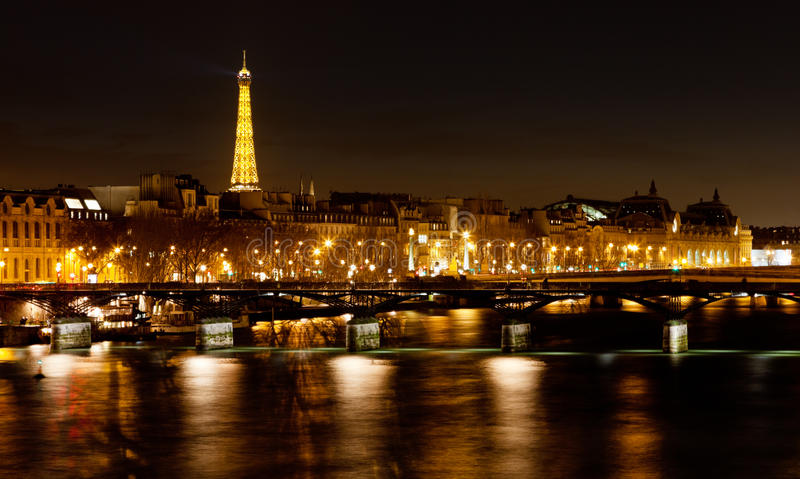Pont des Arts in Paris at night. Pamorama of Seine River and Pont des Arts in Paris at night stock images