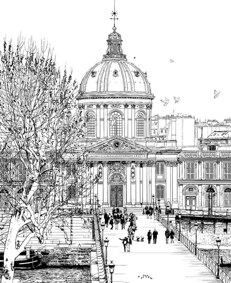 pont des paris искусств иллюстрация вектора