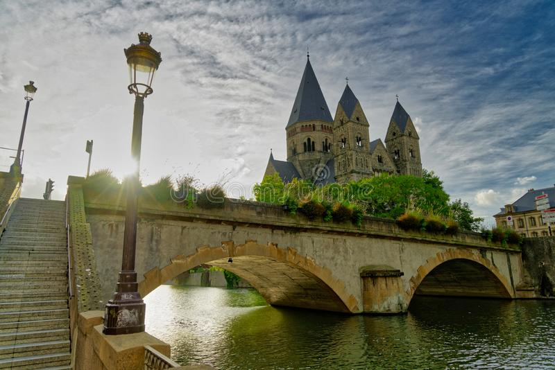 Temple Neuf at the Pont des Roches bridge in Metz royalty free stock images