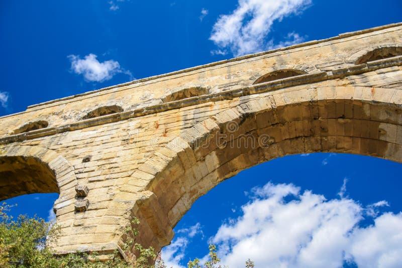 Pont du加尔省特写镜头 免版税库存图片