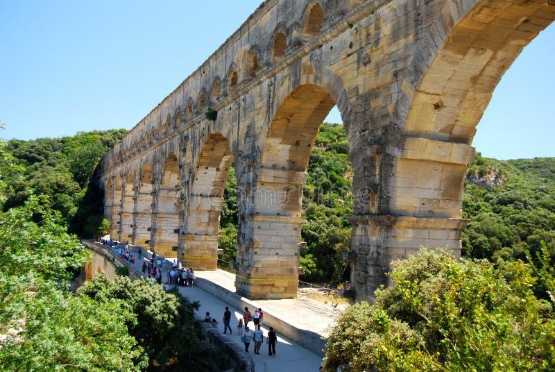 pont du gard мост-водовода римское стоковое изображение rf