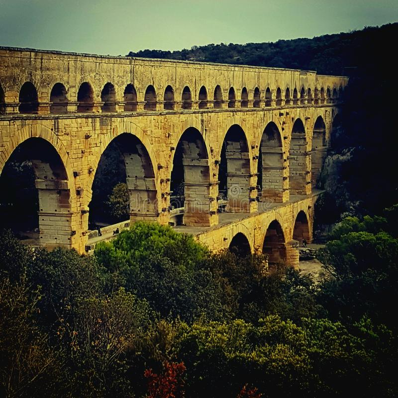 Pont du Gard foto de archivo libre de regalías