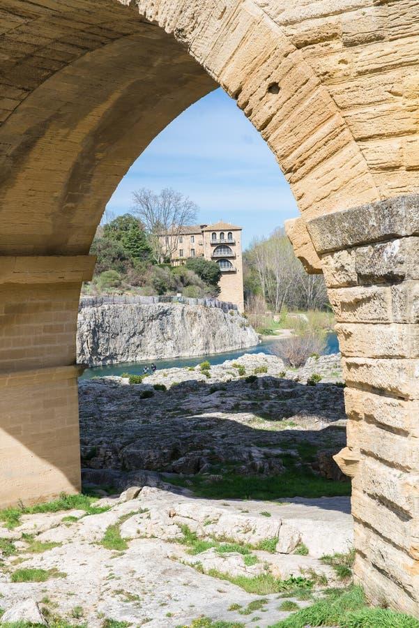Pont du Gard, akvedukt royaltyfria bilder