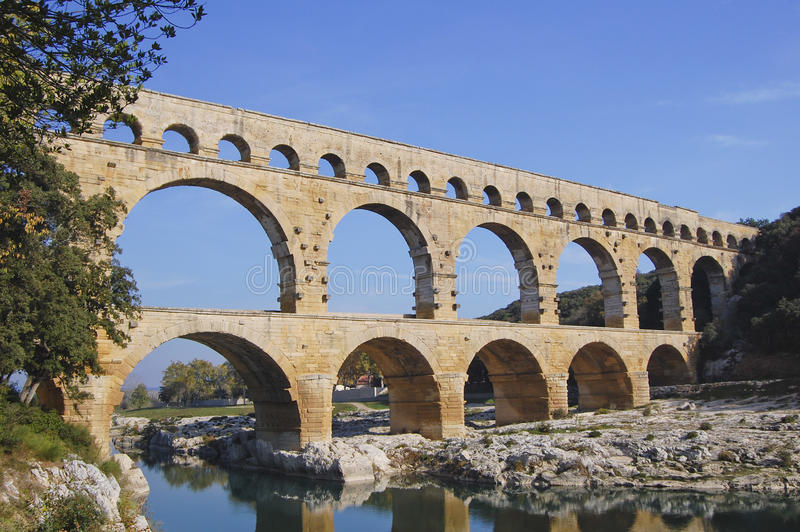 Pont du Gard Aquaduct, France royalty free stock photo