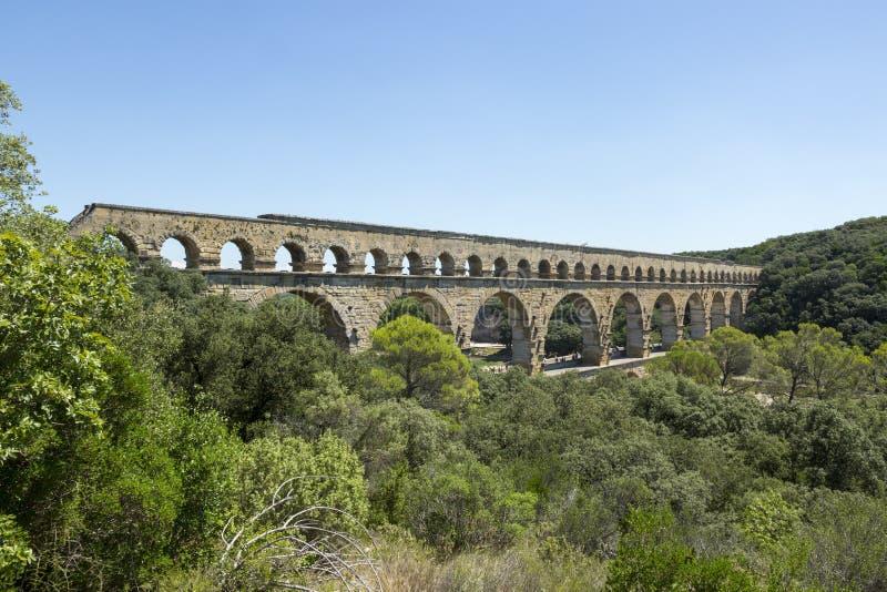 Pont-du-Gard, aquaduct romano, Francia fotografia stock libera da diritti