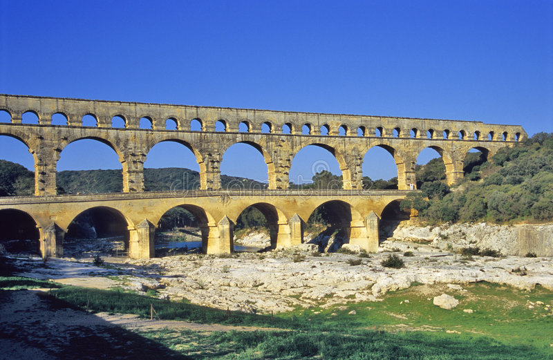 Download Pont du Gard Aqueduct stock image. Image of stream, supply - 1080219
