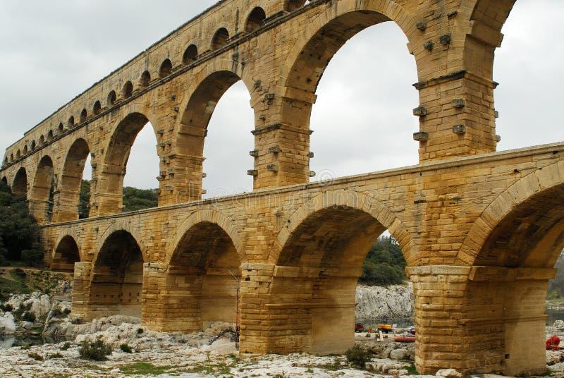 Pont du Gard, Gard region, France. River Gard and Pont du Gard, Gard region, Provence stock photography