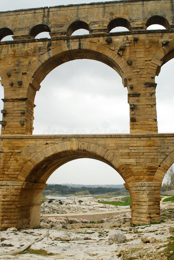 Pont du Gard, Gard region, France. River Gard and Pont du Gard, Gard region, Provence royalty free stock photography