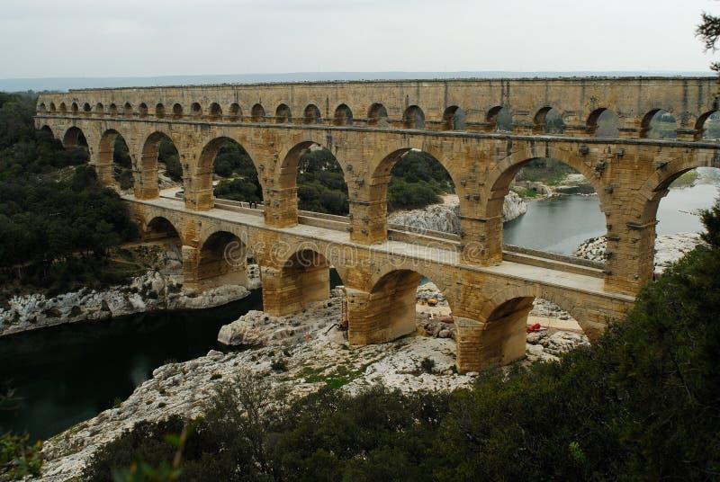 Pont du Gard, Gard region, France. River Gard and Pont du Gard, Gard region, Provence royalty free stock photos