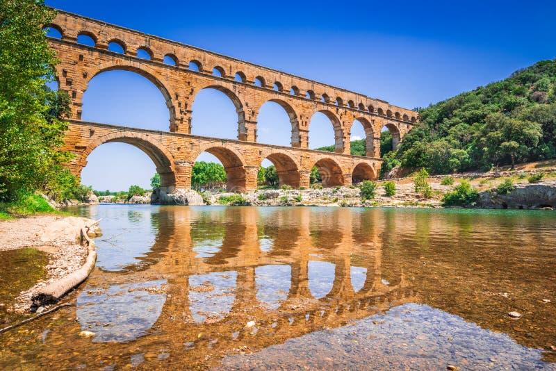 Pont du Gard, Provence i Frankrike arkivbild