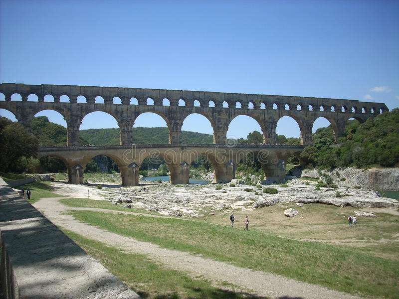 Pont du Gard. Roman aqueduct in the gard region in France stock images