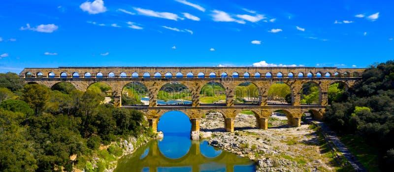 Pont du gard. Site touristique français, vue aérienne stock image