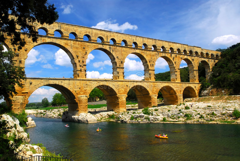 Pont du Gard in southern France royalty free stock photography
