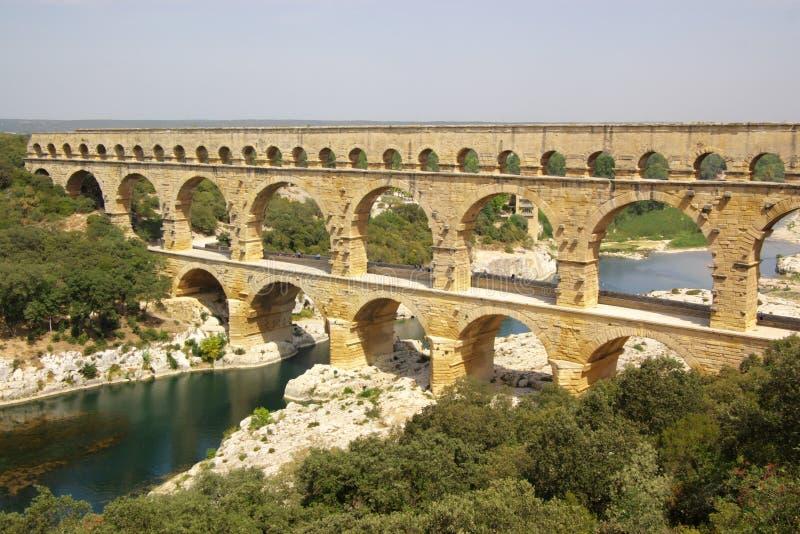 Pont du gard top view stock photography