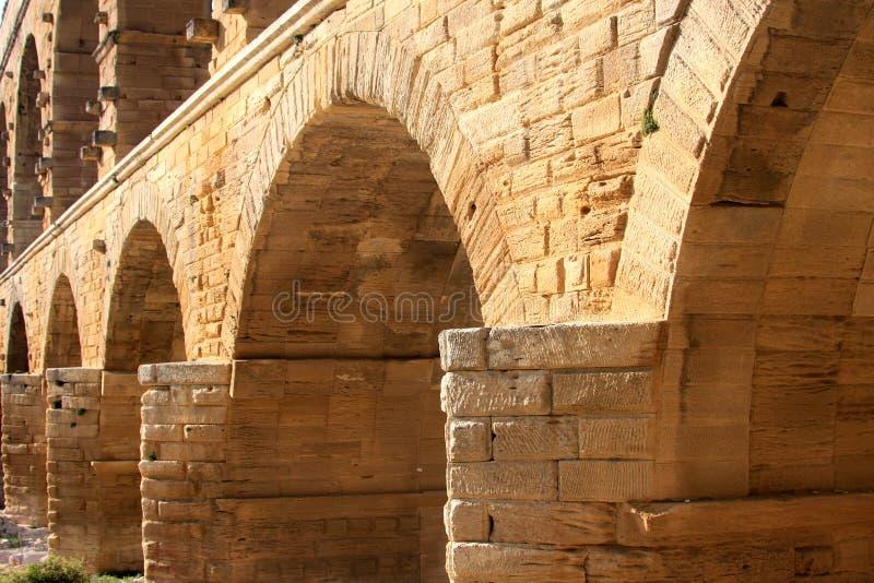 Pont du Gard, um aqueduto romano, France (close-up) fotos de stock royalty free
