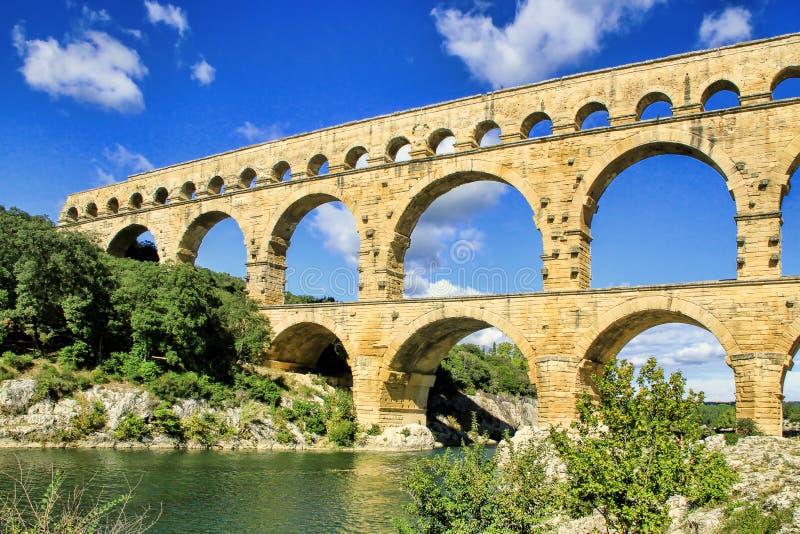 Pont du Gard, zuiden van Frankrijk royalty-vrije stock afbeelding