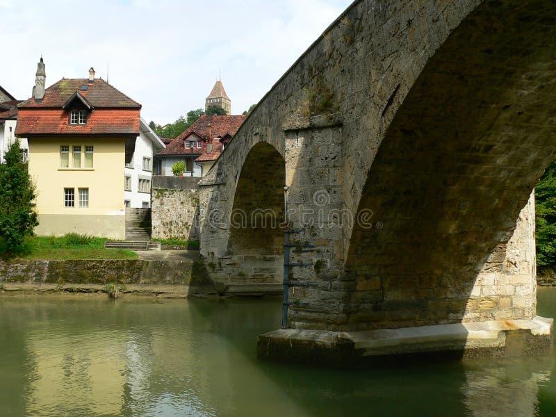 Pont du Milieu, Fribourg (Suisse) lizenzfreie stockfotos