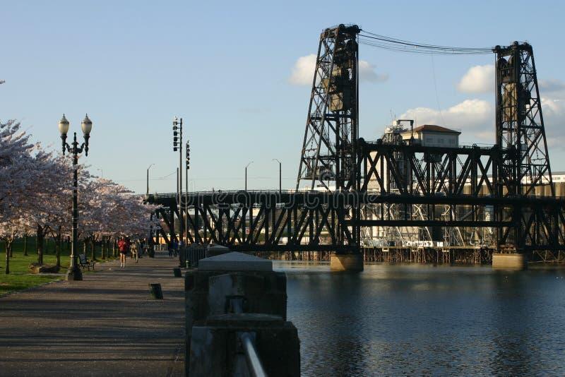 Pont en acier en train à Portland. photos libres de droits