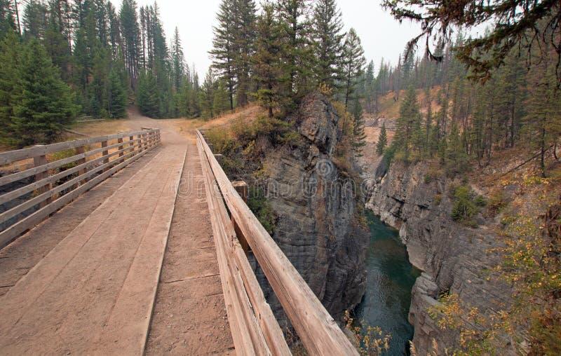 Pont en bois au-dessus de gorge de crique de pré pour la traînée de hausse et à cheval de emballage dans la région de Bob Marshal photos libres de droits