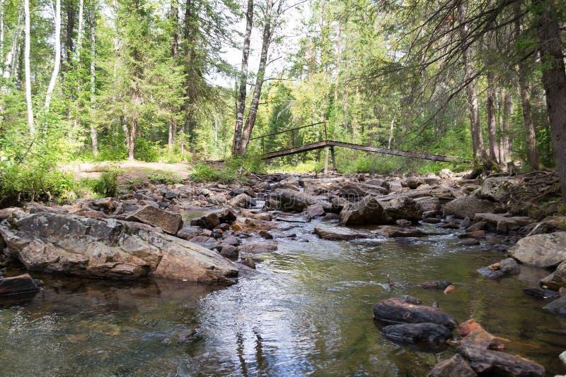 Pont en bois au-dessus de la rivière grande rivière de tresse en parc national Taganay images stock