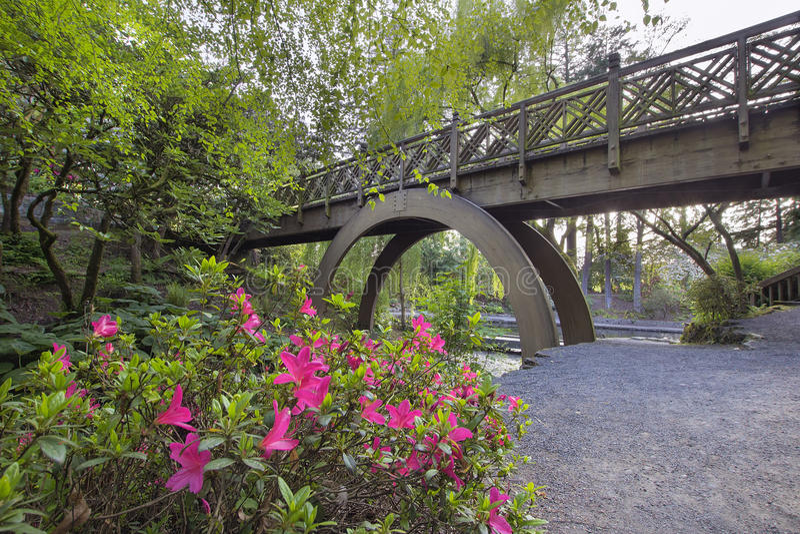 Pont en bois chez Crystal Springs Rhododendron Garden images libres de droits