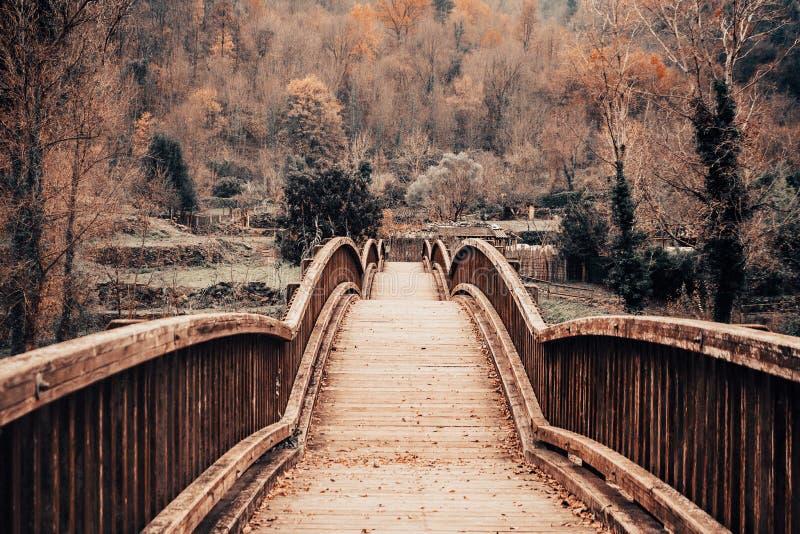 Pont en bois dans un paysage d'automne image stock