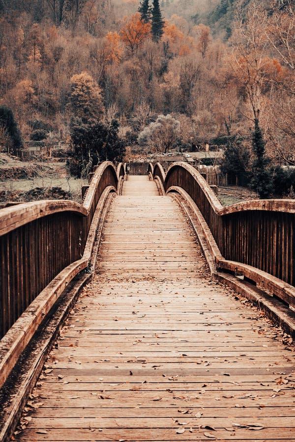 Pont en bois dans un paysage d'automne images libres de droits