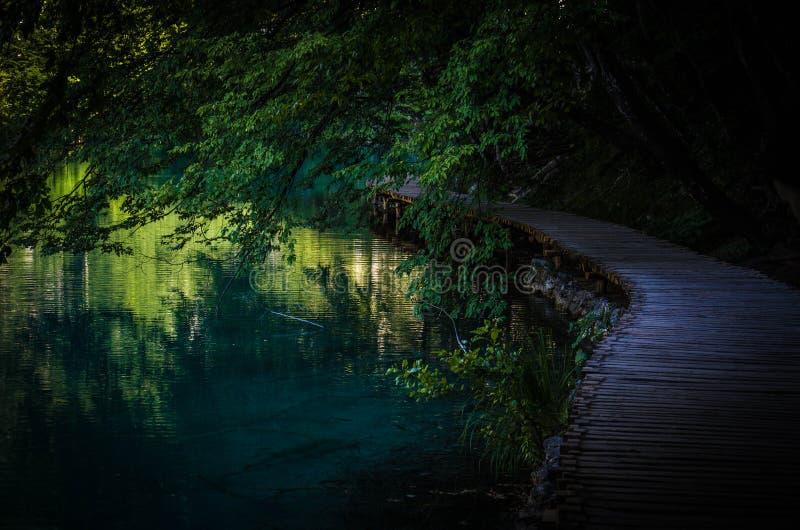 Pont en bois de promenade de chemin sur le lac de l'eau, lacs Plitvice de parc national, Croatie, l'Europe photographie stock libre de droits