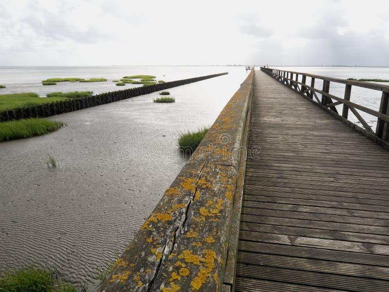 Pont en bois sur la côte de la mer du Nord 2 photo libre de droits