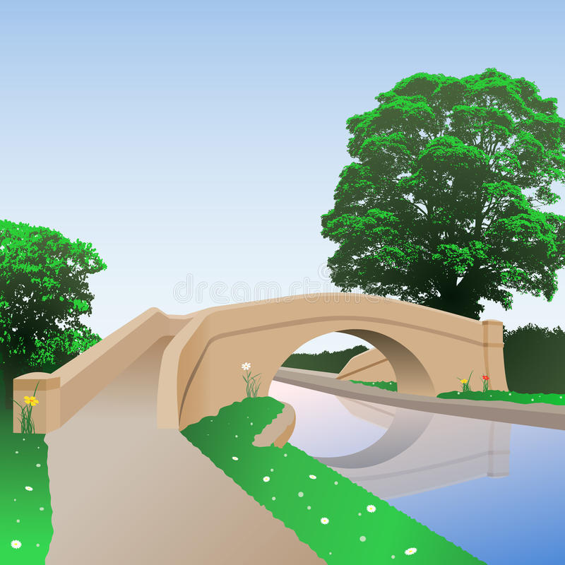 Pont en canal illustration libre de droits