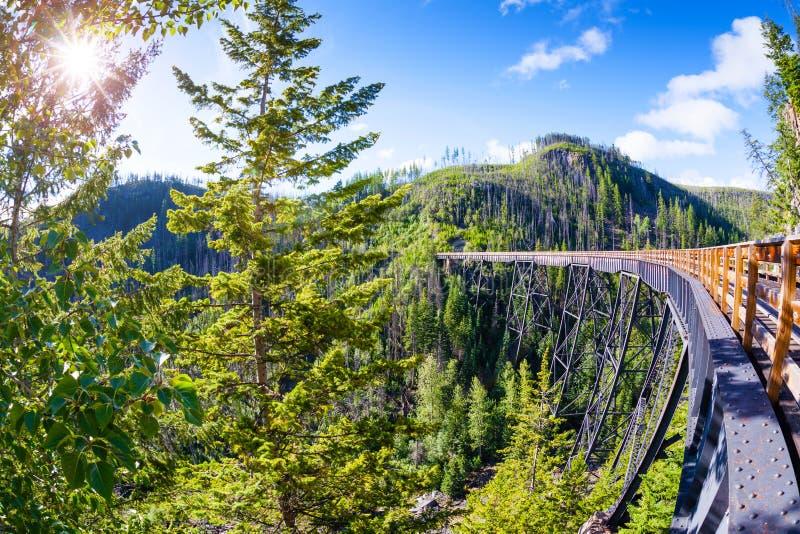 Pont en chevalet historique chez Myra Canyon dans Kelowna, Canada photographie stock
