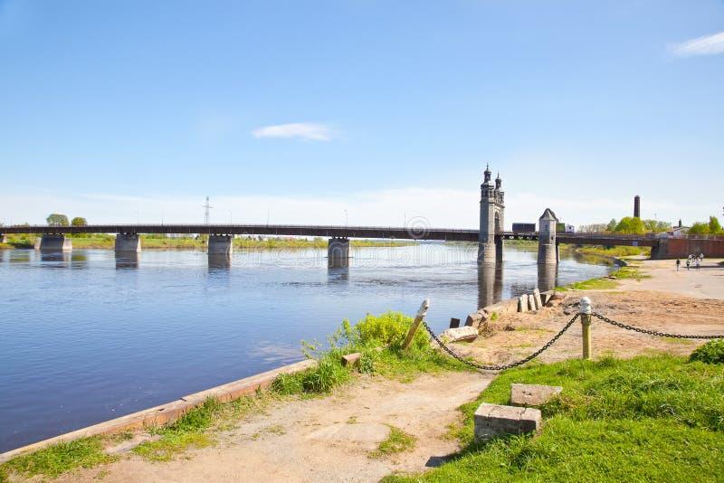 Pont en frontière au-dessus de la rivière de Neman Le pont de la Reine Louise image libre de droits