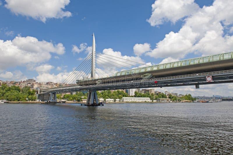 pont en métro de Câble-séjour au-dessus de rivière photo libre de droits