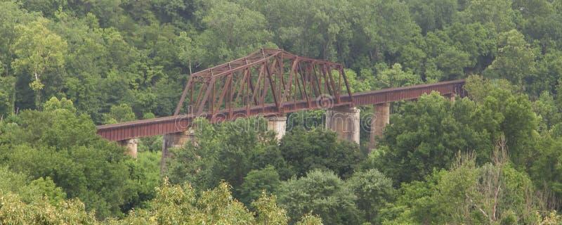 Pont en passage supérieur de train d'acier et en métal images stock