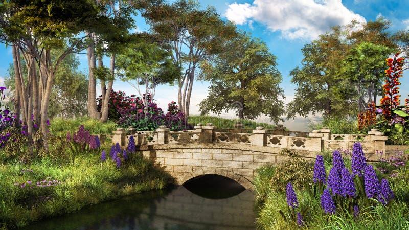 Pont en pierre avec des arbres illustration stock