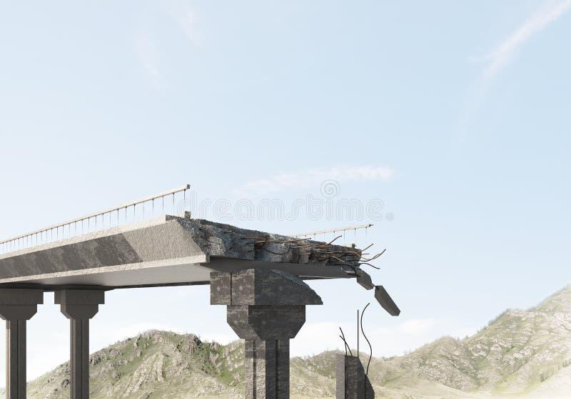 Pont en pierre endommagé comme idée pour le problème et le concept social de connexion photo stock