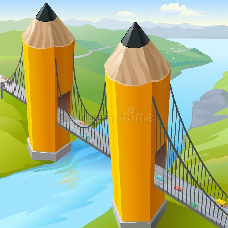 Pont en porte d'or du crayon des enfants illustration libre de droits