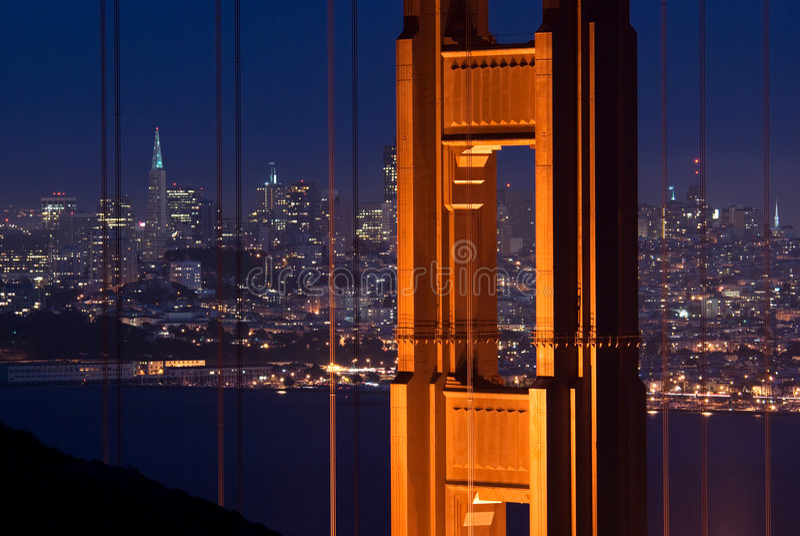 Pont en porte d'or et SF image stock