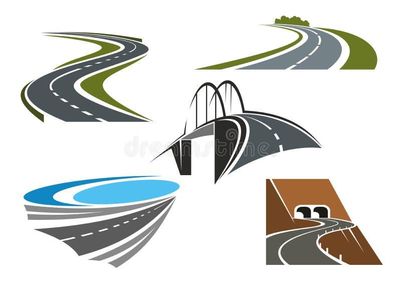 Pont en route, routes rurales et tunnels de route illustration stock