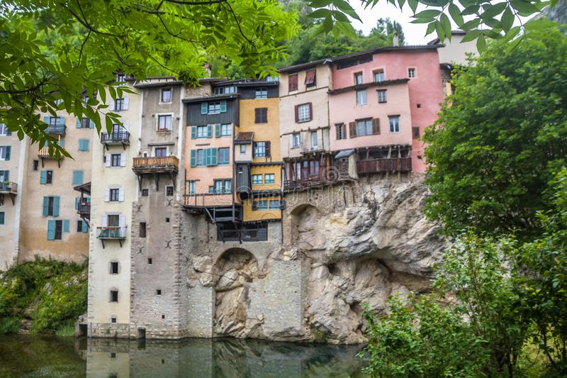 Pont-En-Royans, a charming picturesque medieval village with it colorful houses overhang the Bourne river, stock photo