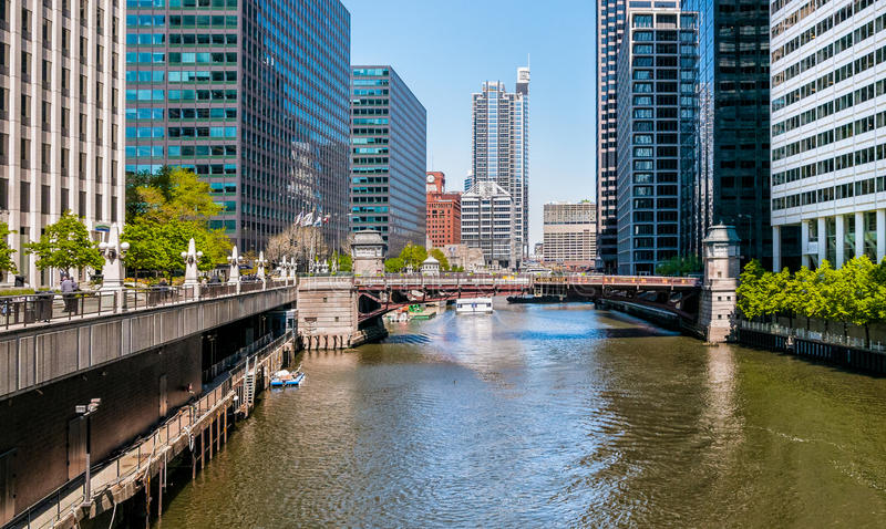 Pont en rue d'Adams, Chicago photo stock