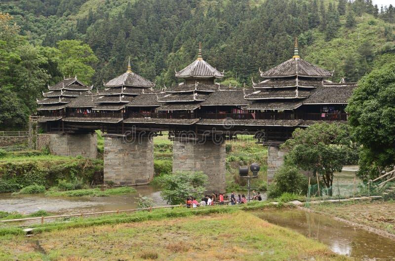 Pont en vent de Chengyang images stock