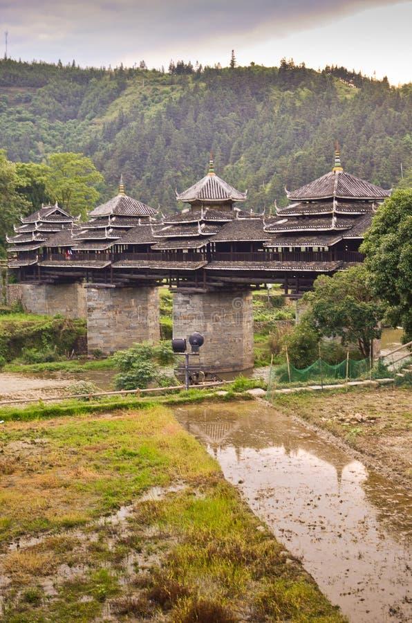 Pont en vent de Chengyang photo libre de droits
