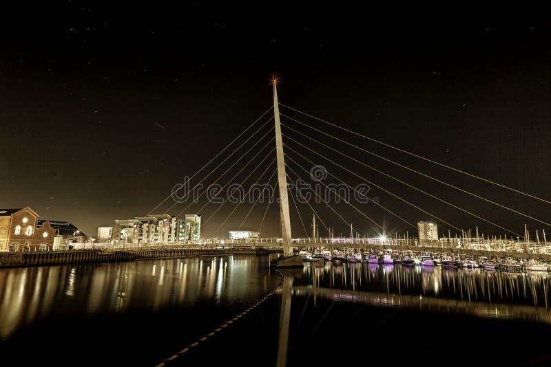 Pont en voile de Swansea images stock