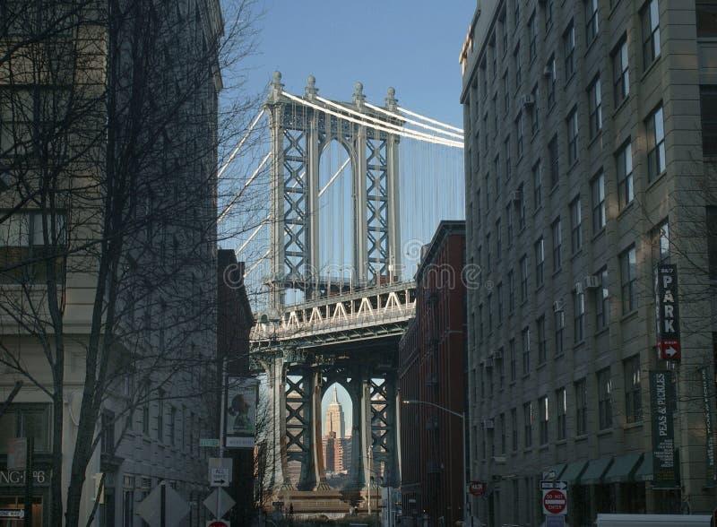 Pont et Empire State Building de Manhattan de secteur historique d'abruti photos libres de droits