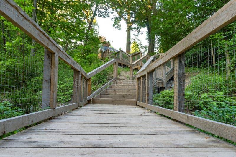 Pont et escaliers menant hors d'une promenade de nature photos libres de droits
