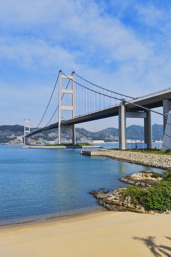 Pont et plage de Hong Kong photos stock